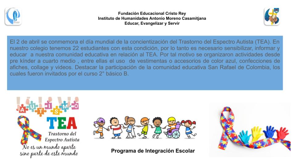 Conmemoración día Internacional de la concientización del autismo